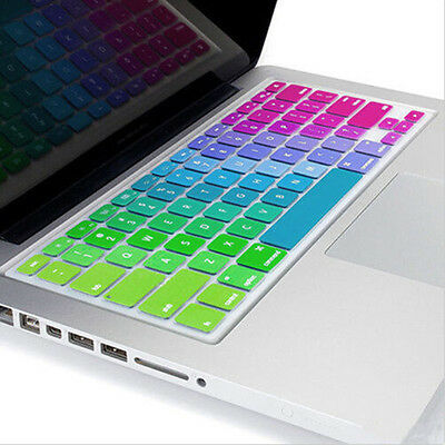 "Silicone Rainbow Keyboard Cover Skin for laptop Macbook Air Pro13""15""17"" Soft Oy"