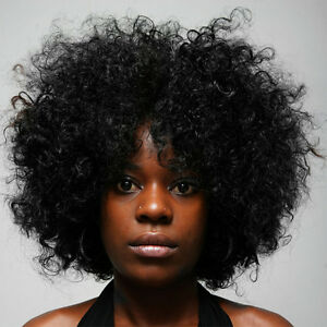 Black Womens Short Afro Fluffy Cheap None Lace Kinky Curly Hair Wigs +A Wig Cap