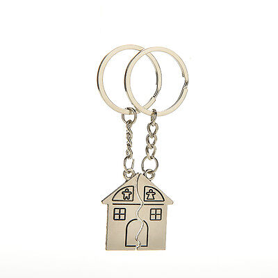 2 Pcs House Shape Keychain Key Ring for Lovers Valentine's day Love Key RS