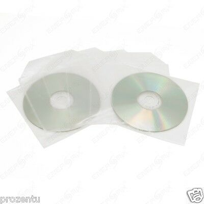 200 CD /DVD Folien Hüllen Sleeves mit Lasche Folie NEU