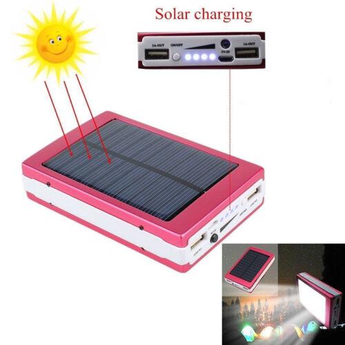 Solar LED Portable Dual USB Power Bank External Battery Charger Box Case