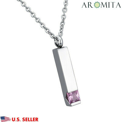 Bar with Pink Crystal  Square Cremation Jewelry Keepsake Memorial Urn -