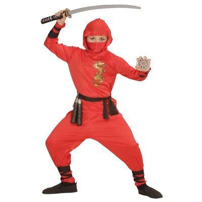 Red Ninja Fighter Kinder Kostüm - Jungen Verkleidung rot Kämpfer Samurai