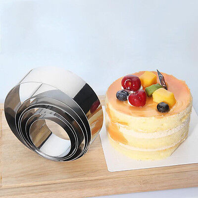 - 6PCS DIY Stainless Steel Mousse Cake Ring Mould Forming Rings Mould Baking Tool