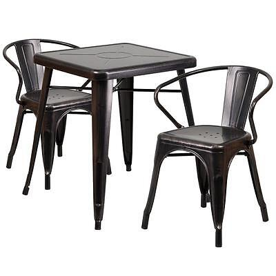 Black Antique-gold Metal Restaurant Table Set With 2 Arm Chairs