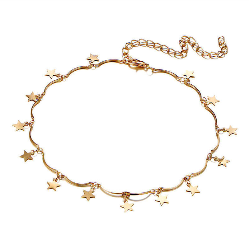 f6fc63862934a Details about Women Cute Simple Tiny Star Chain Gold Silver Jewelry Gift  Xmas Choker Necklace