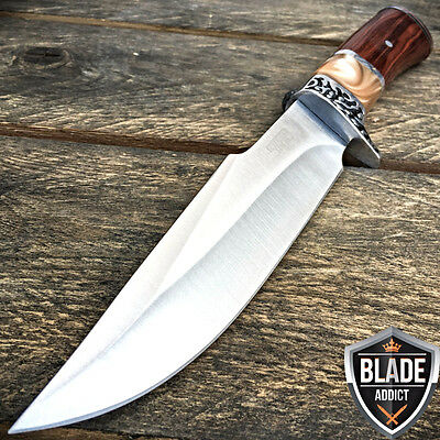 "10.5"" Stainless Steel Survival Skinning Hunting Knife Wood Handle Bowie Camping"