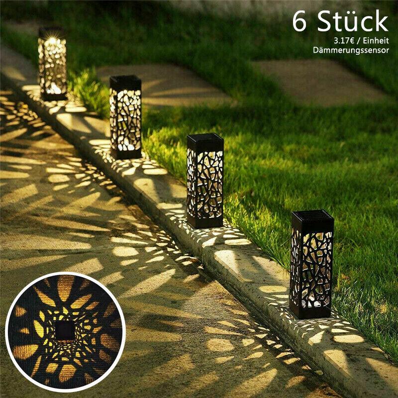 6x LED Solarlampe Solarleuchte Gartenlicht Außen-Beleuchtung Schattenlaterne DHL