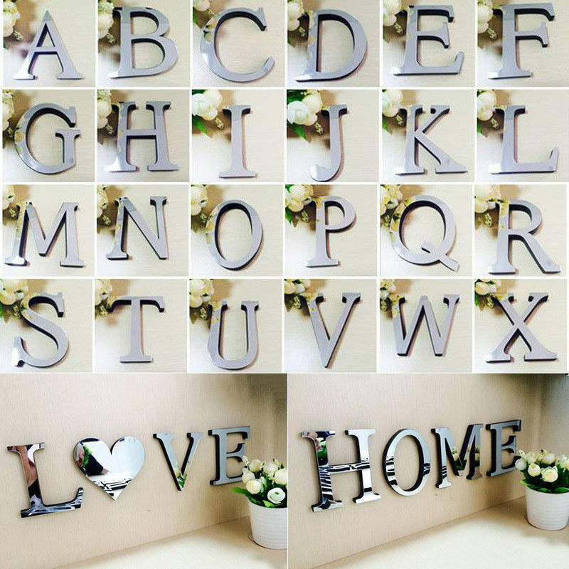 Home Decoration - 3D Acrylic Mirror Wall Sticker 26 Alphabet Letters Mural Home Bedroom Door Decor