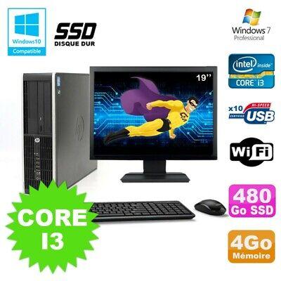 Lot PC HP Compaq 6200 Pro SFF Core i3 3.1GHz 4Go 480Go SSD DVD WIFI W7 + Ecran 1