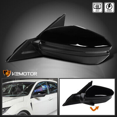 For 2016-2018 Honda Civic Black Power+Heated 7-Pin LED Side Mirror Driver Left