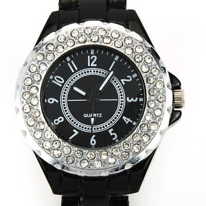 Rare Pure Black Bling Crystal Lady Bracelet Wrist Watch