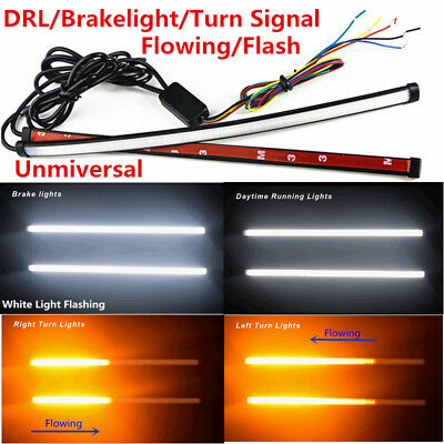 2X Car SUV Daytime Light Bar Switchback LED Strip Flowing Turn Signal Indicator