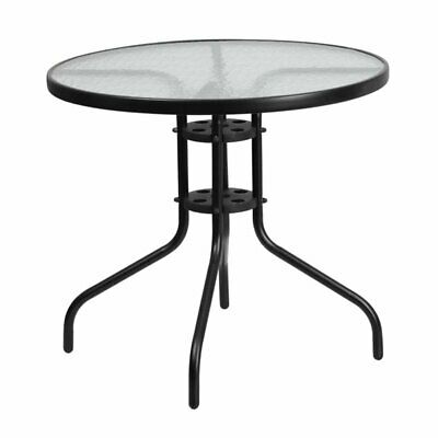 Flash Furniture 31.5'' Round Tempered Glass Metal Table