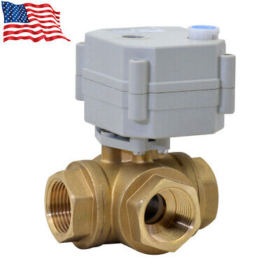12 3 Way L Port 12v24vdc Brass Auto Return Motorized Electrical Ball Valve