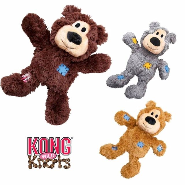 KONG WILD KNOTS BEAR - PLUSH SQUEAKY DOG PUPPY TOY KNOTTED ROPE FOR STRENGTH M/L