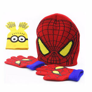MINION & SPIDERMAN HAT & GLOVE SET BRAND NEW 60% OFF CLEARANCE