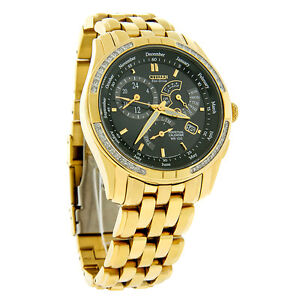 Citizen Eco-Drive Mens Calibre 8700 Gold Tone Diamond Watch BL8042-54E