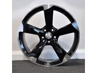"""19"""" TTRS Gloss Black Alloy Wheels & Tyres. Suitable for most Audi A4, A5 & A6 (5x112)"""