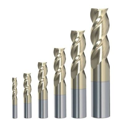 Rip Cutting Tools 6 Piece 3-flute Carbide End Mill Set Zrn For Aluminum 18-12