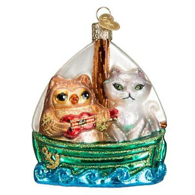 OWL AND PUSSY CAT IN BOAT OLD WORLD CHRISTMAS GLASS NAUTICAL ORNAMENT NWT 12450