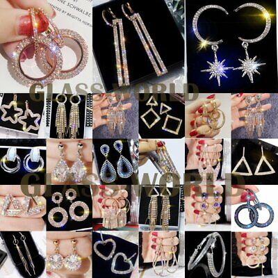 Fashion Luxury Earrings Crystal Tassel Geometric Hoop Earrings Women Jewelry