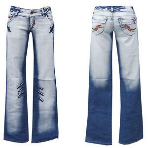 denim girls blue jeans w28 gr 36 bootcut hose schlag damen. Black Bedroom Furniture Sets. Home Design Ideas