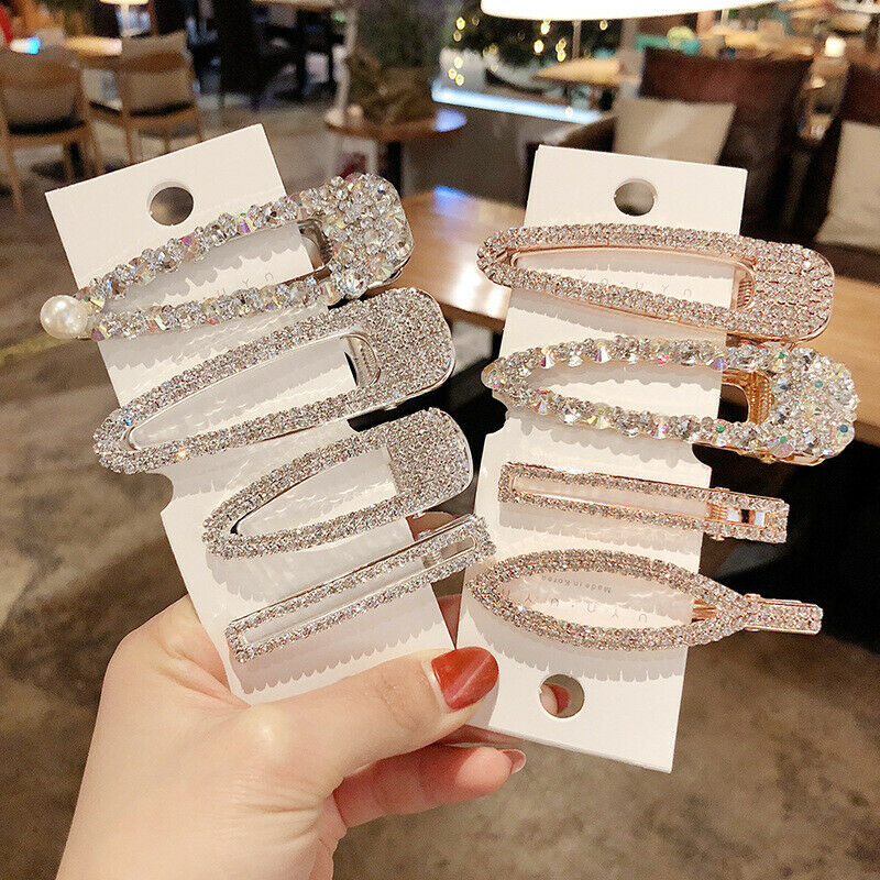 Women's Crystal Slide Hair Clips Snap Grips Barrette Hairpin