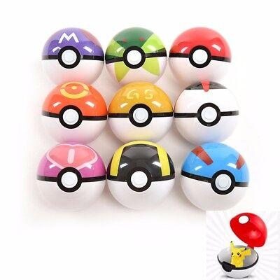 9Pcs 7CM Pokemon Pokeball Master Ultra GS Pop-up Throw Poke Ball Gift Toy Set