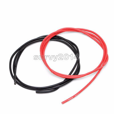 Black Red 1m 14 Awg Gauge Wire Flexible Silicone Stranded Copper Cables For Rc
