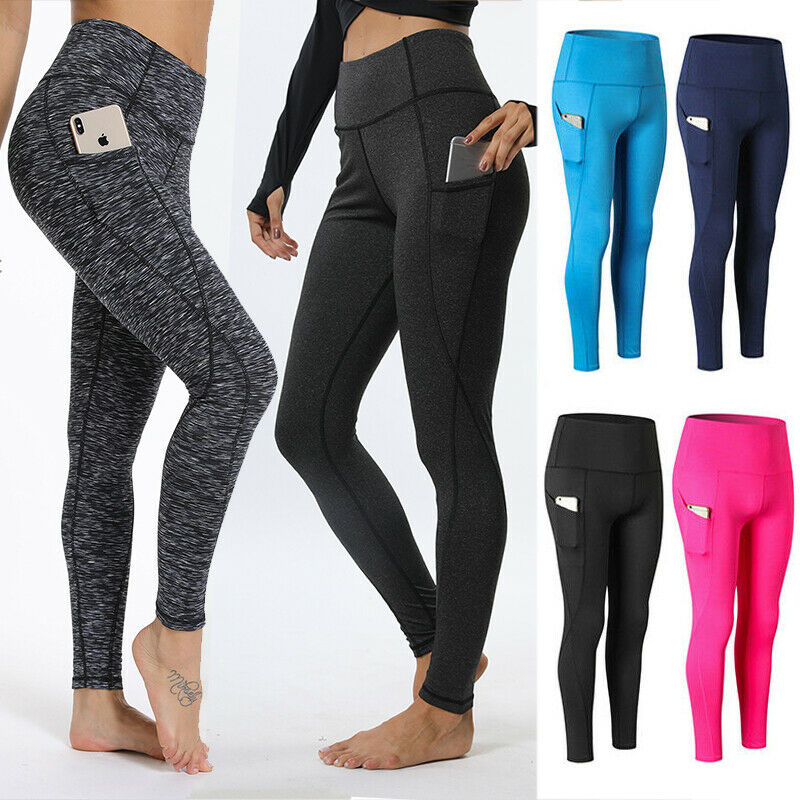 Damen Leggings Tasche Sporthose Fitness YOGA Gym Sport Trainingshosen Leggins NM