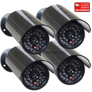 4x-Dummy-Security-Camera-with-Flashing-Light-Fake-IR-Infrared-LEDs-Home-CCTV-w69