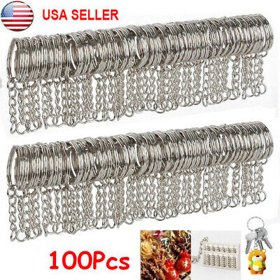 100Pcs Key Ring Keychain W/ Link Chain Blanks Silver Tone Key Holder Split Rings