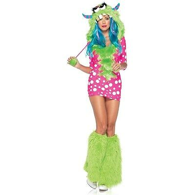 Ladies Monster Costume (Ladies MELODY MONSTER Costume Pink Polka Dot Dress Green Hood Adult XS 0)