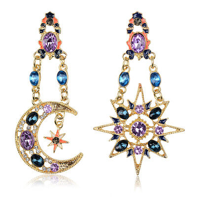 Elegant Crystal Drop Long Moon Sun Pendant Stud Earrings Women Gift Wholesale
