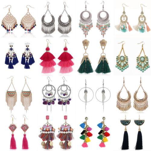 Earrings - Fashion Bohemian Jewelry Elegant Tassels Earrings Long Hook Drop Dangle Women