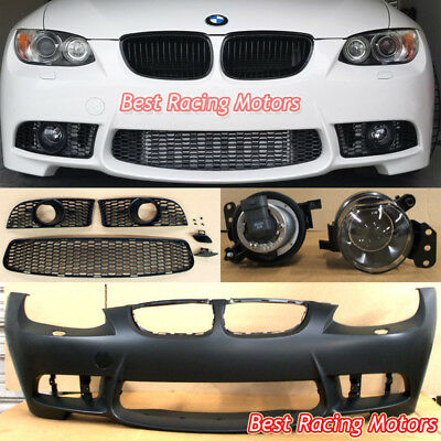 M3 Style Front Bumper + Glass Projector Fog Fit 07-10 BMW E92 E93 2dr 3-Series