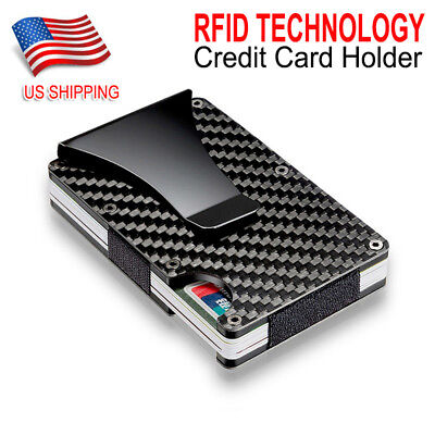 Slim Carbon Fiber Credit Card Holder RFID Blocking Metal Money Clip Purse Wallet