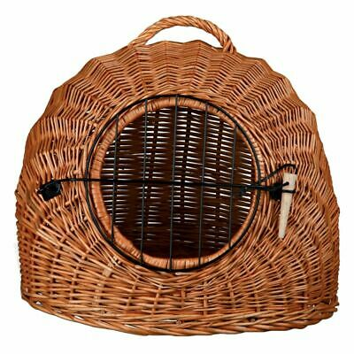 Wicker Cat Basket DEN Pet Bed Carry Handle REMOVABLE DOOR Transport Box Lying