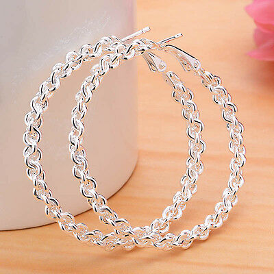 Fashion Women 925 Silver Wedding Stud Dangle Hoop Earrings Lady Jewelry new