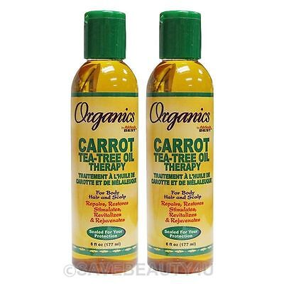 2Pc Africa's Best Organics Carrot Tea-Tree Oil Therapy for Body Hair Scalp