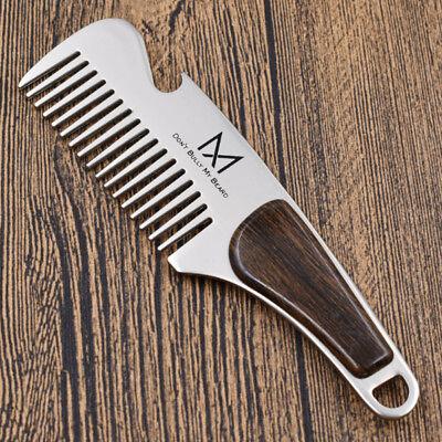 Practical Beard Comb Mens Shaving Pocket Comb Portable Male Steel Mustache Brush