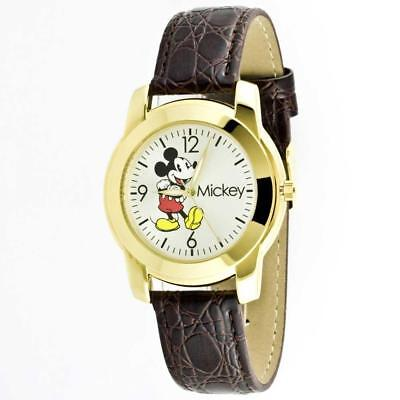 New Disney Mickey Mouse Gold Brown Leather Band Large Size Watch 40mm MCK622
