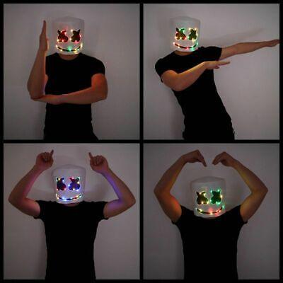 Clubs For Halloween (DJ Marshmello Rainbow LED Latex Mask Full Head Helmet for Halloween Party &)