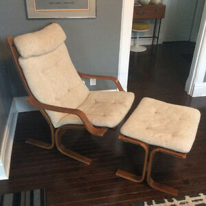 Mid Century Oak Bentwood Ingmar Relling Plydesigns Chair Ottoman