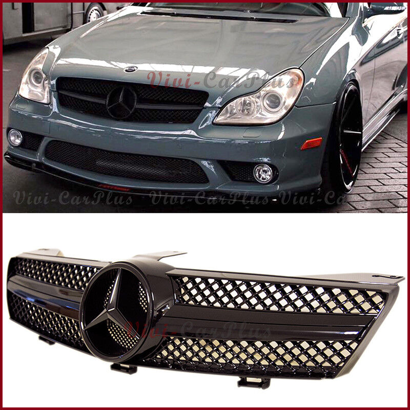Mercedes Benz CLS Front Grille W219 Model 2004 to 2008 Full Matt Black Grill AMG