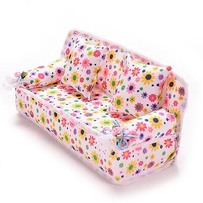 Mini Furniture Sofa Couch +2 Cushions For Barbie Doll House Accessories U Ex