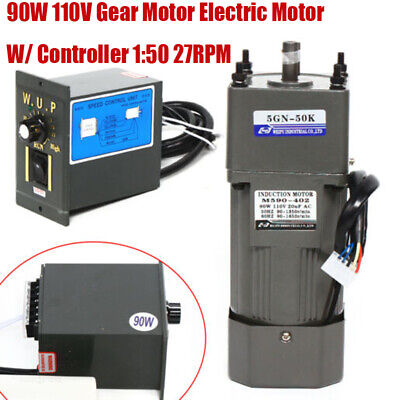Ac 110v 90w Gear Motor Electric Motor Variable Reducer Speed Controller 150 New