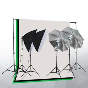 Photo Studio Lighting Kit with 2 Umbrella, 2 Softboxes & 3 Backdrop stand Muslin - Free Shipping