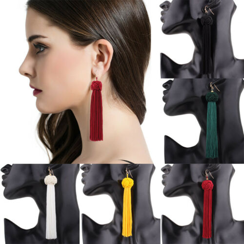 Earrings - US Women Fashion Tassel Earrings Yellow Black Red Long Drop Earrings Jewelry
